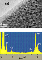 (a) TEM image of the composite material palladium-poly(o-methoxyaniline) at high magnification. The dark spots are the 2–3 nm sized palladium nanoparticles dispersed within the polymer matrix; (b) EDX spectrum from the area shown in (a). The presence of palladium is clearly indicated. The copper peak originates from scattering from the TEM copper mesh support grid. Reproduced from (19) with permission from EDP Sciences