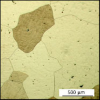 Microstructure of Pt-5Cu alloy after thermal treatment at 1000°C for 21 hours. The micro segregation of copper is reduced (microhardness 120 ± 4 HV200). Compare with Figure 16