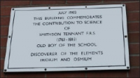 The plaque to commemorate Smithson Tennant on the science block of the current Beverley Grammar School buildings