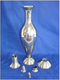 Palladium jug: tungsten inert gas (TIG)-welded body and other spun parts, spun by Johnson Matthey